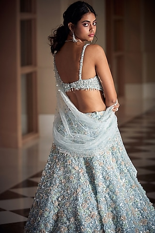 Powder Blue Lehenga Set With Sequins Work by Seema Gujral