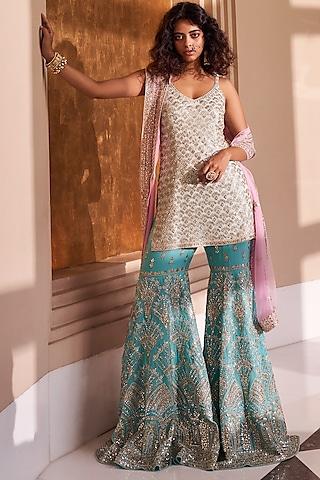 Pink & Sea Green Sharara Set With Mask by Seema Gujral