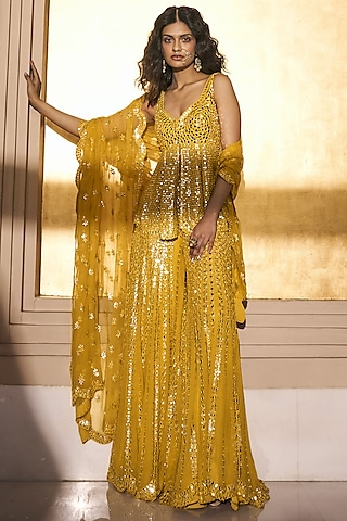 Mustard Yellow Sharara Set With Mirror Work by Seema Gujral