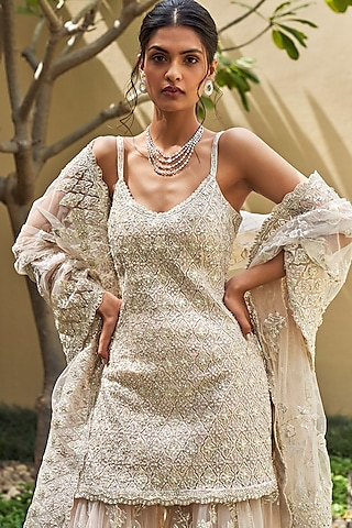 Ivory Embellished Sharara Set by Seema Gujral