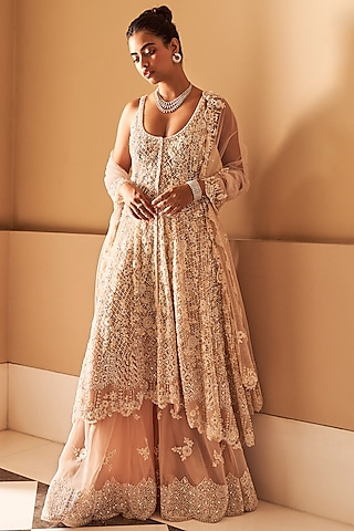 Nude Embroidered Sharara Set With Mask by Seema Gujral