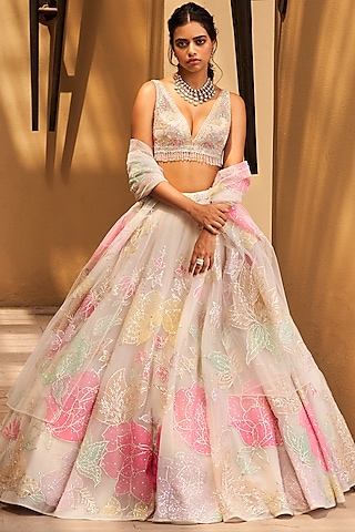 Multi Colored Embroidered Lehenga Set With Mask by Seema Gujral