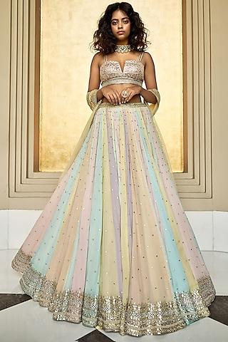 Multi Colored Paneled Lehenga Set by Seema Gujral