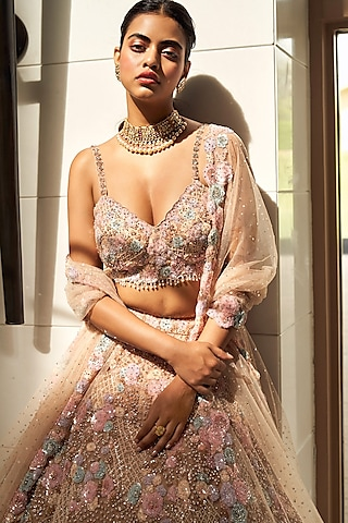 Champagne & Pink Embroidered Lehenga Set by Seema Gujral