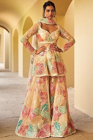 Multi Colored Gharara Set by Seema Gujral