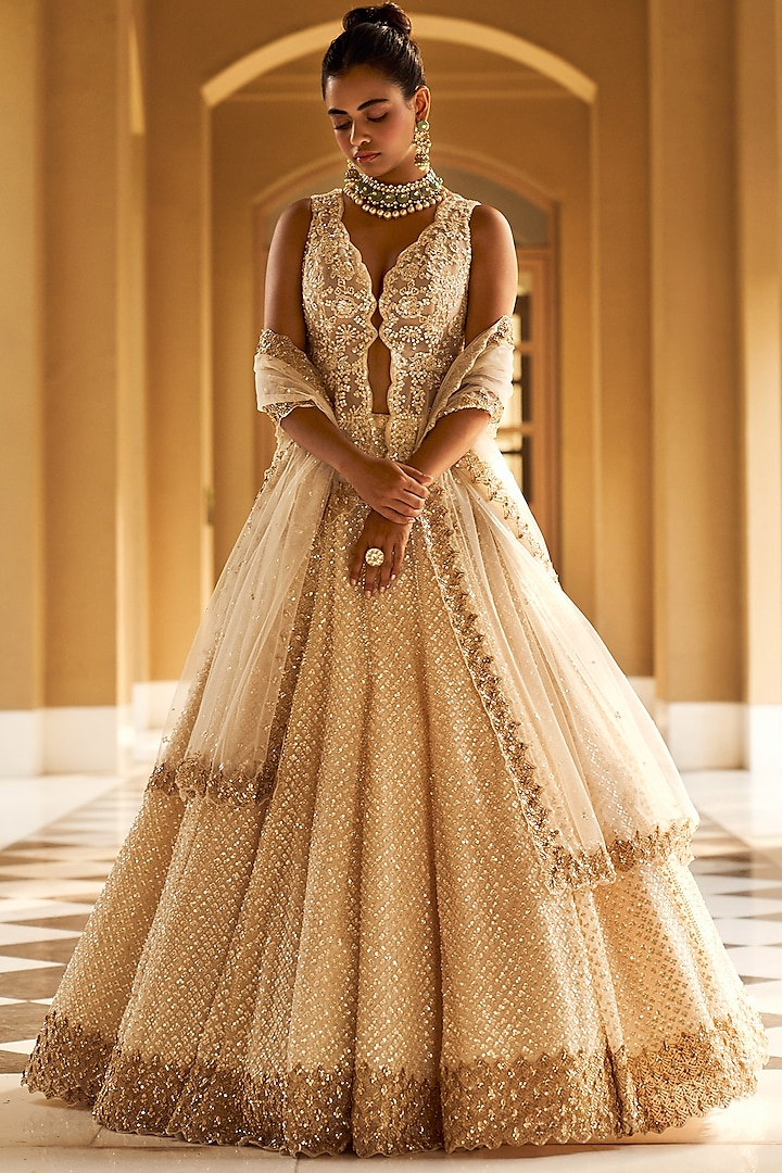 Ivory & Golden Embroidered Lehenga Set by Seema Gujral