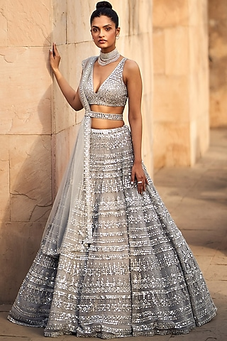 Grey & Silver Embroidered Lehenga Set by Seema Gujral