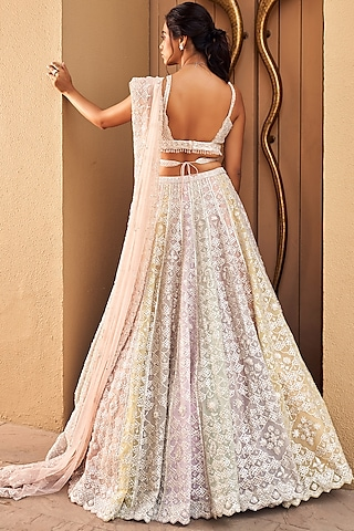 Pastel Multi Colored Embroidered Lehenga Set by Seema Gujral