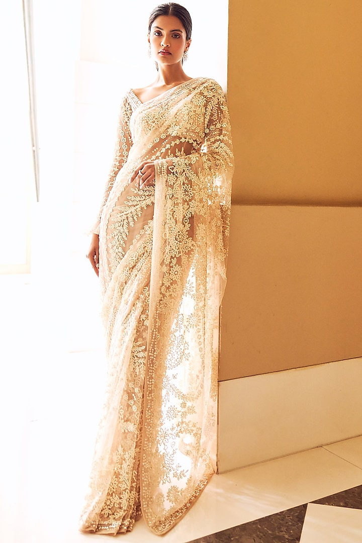 Ivory & Nude Embroidered Saree Set by Seema Gujral