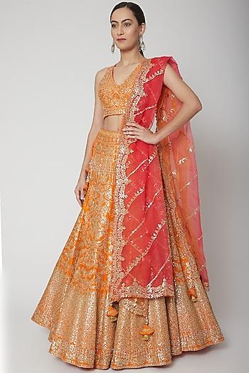 Orange & Coral Embroidered Lehenga Set by Seema Gujral