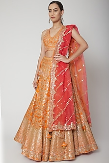 Orange & Coral Embroidered Lehenga Set by Seema Gujral