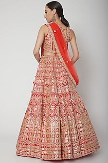 Red Thread Embroidered Lehenga Set by Seema Gujral