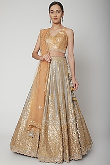 Grey & Yellow Embroidered Lehenga Set by Seema Gujral