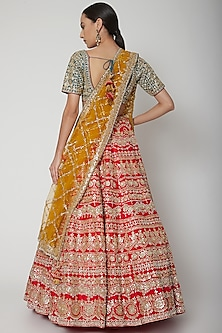Red & Green Embroidered Lehenga Set by Seema Gujral