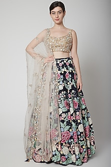 Navy Blue & Gold Embroidered Lehenga Set by Seema Gujral