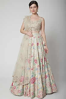 Ivory & Gold Thread Embroidered Lehenga Set by Seema Gujral