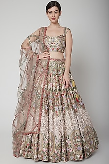 Old Rose Pink Embroidered Lehenga Set by Seema Gujral