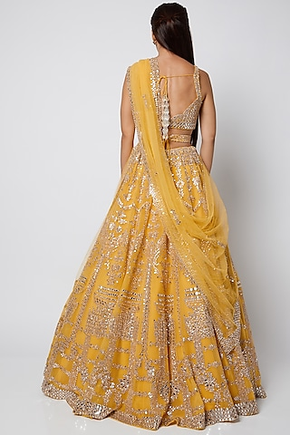 Yellow Embroidered Lehenga Set by Seema Gujral