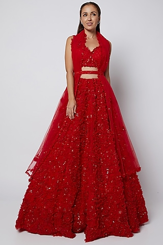 Red Floral Embroidered Lehenga Set by Seema Gujral