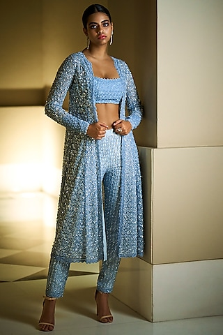 Blue Embroidered Jacket Set by Seema Gujral