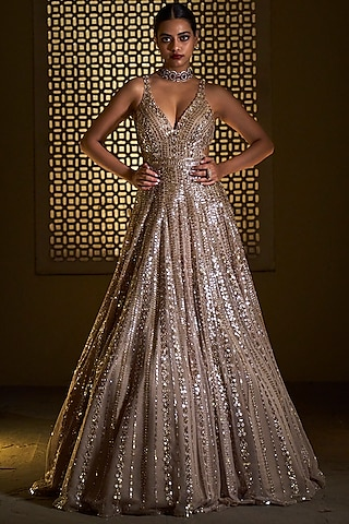 Gold Embroidered Gown by Seema Gujral