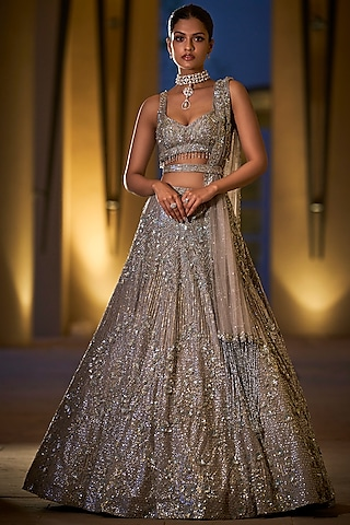 Silver Embroidered Lehenga Set by Seema Gujral