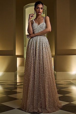 Silver Embroidered Gown by Seema Gujral