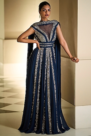 Navy Blue Embroidered Gown by Seema Gujral