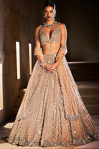 Gold Mirror Embroidered Lehenga Set by Seema Gujral