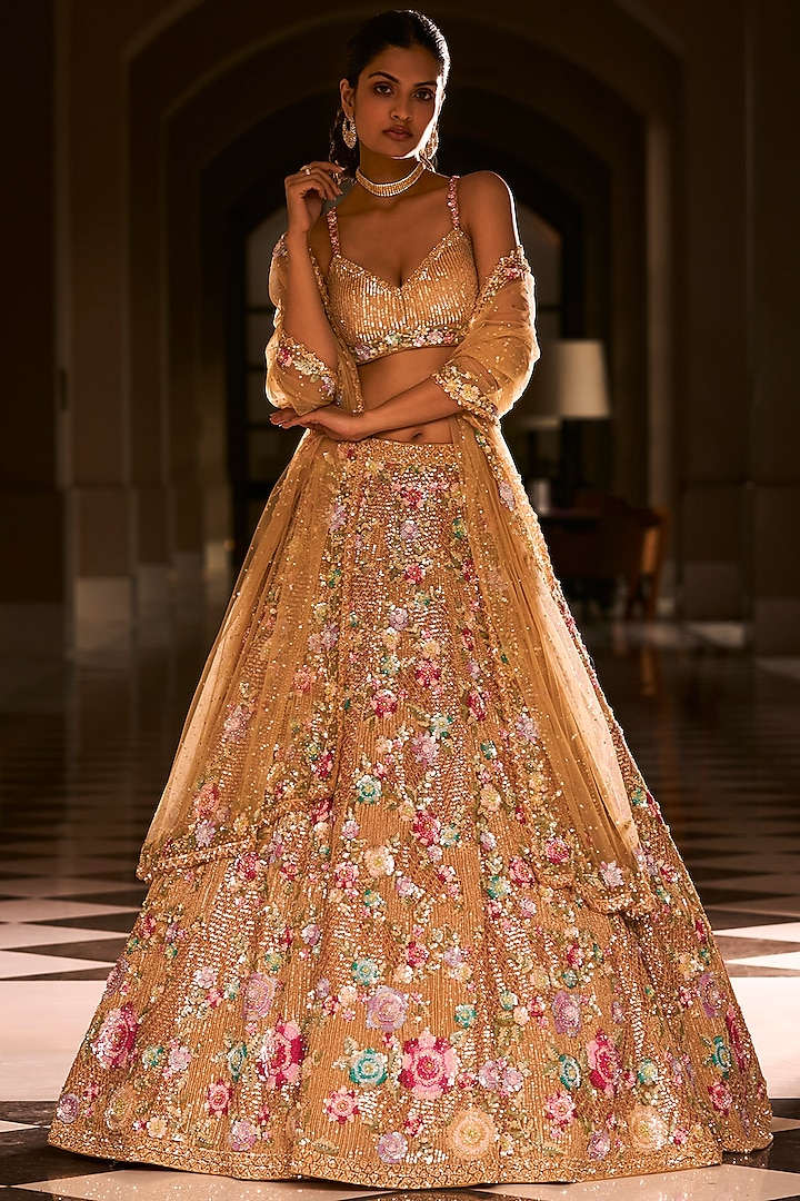 Gold Floral Embroidered Lehenga Set by Seema Gujral