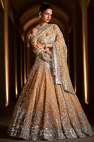 Gold & Silver Embroidered Lehenga Set by Seema Gujral