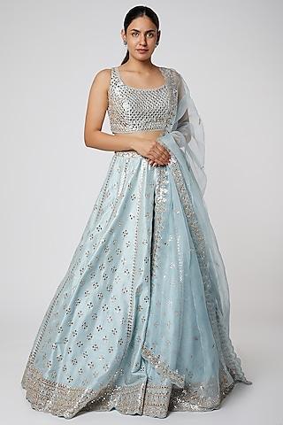 Pastel Blue Embroidered Lehenga Set by Seema Gujral