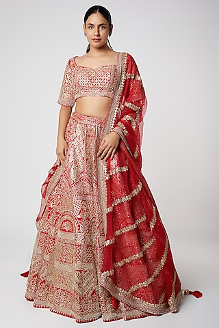 Red Embroidered Raw Silk Lehenga Set by Seema Gujral