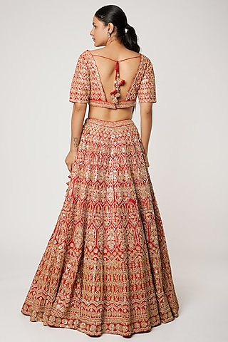 Red Embroidered Lehenga Set by Seema Gujral