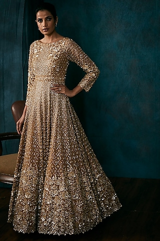 Gold Embroidered Gown With Dupatta by Seema Gujral