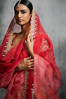 Red & Orange Embroidered Lehenga Set by Seema Gujral