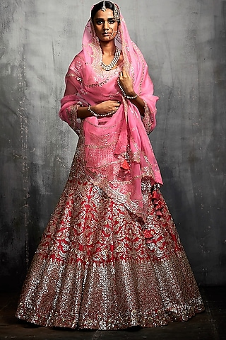 Red & Pink Embroidered Lehenga Set by Seema Gujral