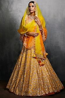 Yellow & Orange Embroidered Lehenga Set by Seema Gujral
