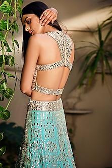 Beige & Mint Green Embroidered Lehenga Set by Seema Gujral