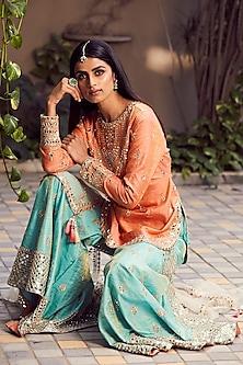 Peach & Mint Green Embroidered Gharara Set by Seema Gujral