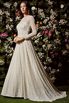 White Sequins Embroidered Gown by Seema Gujral