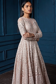 Copper Embroidered Gown With Dupatta by Seema Gujral