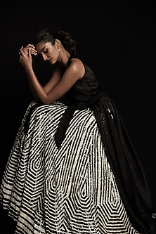Black & White Embroidered Lehenga With Tie-Up Top by Seema Gujral