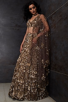 Gold Embroidered Lehenga Set by Seema Gujral