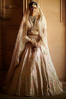 Pale Pink Pearl Embroidered Lehenga Set by Seema Gujral