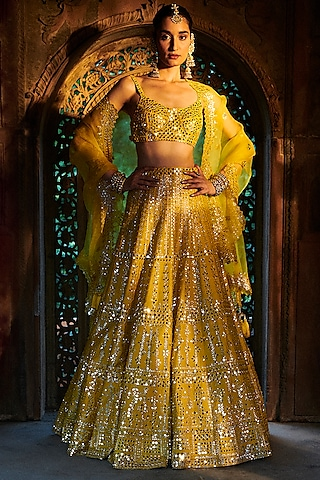 Saffron Yellow Embroidered Lehenga Set by Seema Gujral