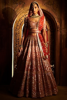 Crimson Red Embroidered Lehenga Set by Seema Gujral