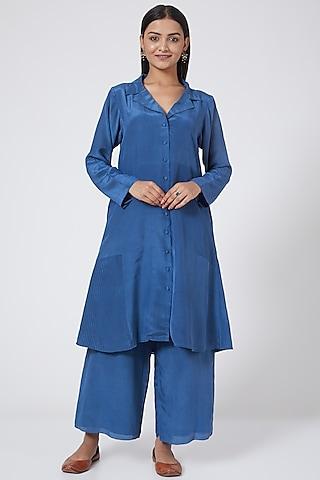 Cobalt Blue Silk Crepe Tunic Set by Sejal Jain