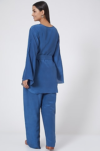 Cobalt Blue Silk Crepe Pant Set by Sejal Jain