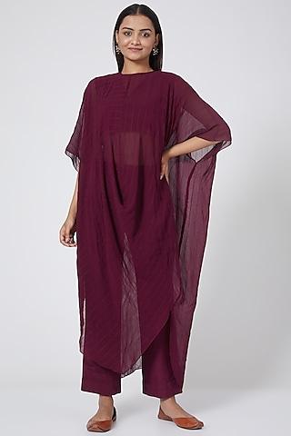 Wine Georgette Cowl Tunic Set by Sejal Jain